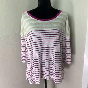 Lane Bryant Striped 3/4 Sleeve Top size 14/16